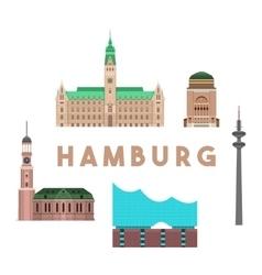 hamburg landmarks skyline vector image