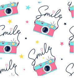 hand drawing print design camera and slogan vector image