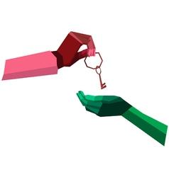 hand give key polygon vector image
