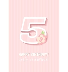 Happy Birthday for girl 5 Years vector
