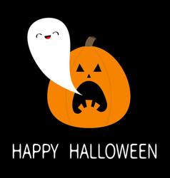happy halloween ghost spirit flying from pumpkin vector image