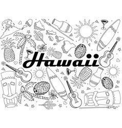 Hawaii coloring book line art design vector
