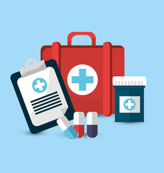 Hospital medicine tools icon vector