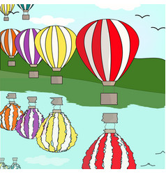 Hot air balloon by the river vector