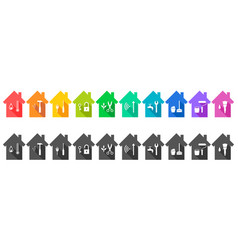house set with various work tool icons vector image