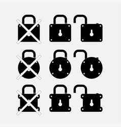 icons locks security control vector image vector image