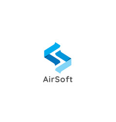 Initial letter s logo abstract air flow flight vector