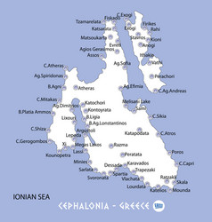 Island of cephalonia in greece white map and blue vector