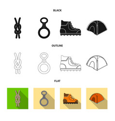 Isolated object of mountaineering and peak sign vector