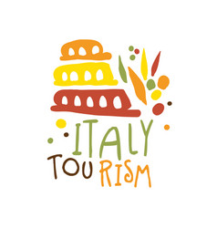 Italy tourism logo template hand drawn vector