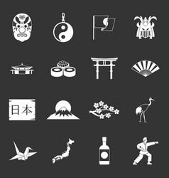 japan icons set grey vector image