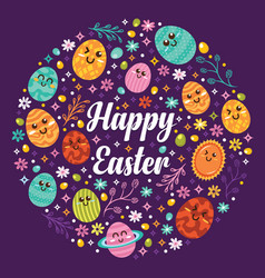 kawaii happy easter icons background vector image