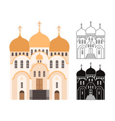 Line and flat church buildings vector