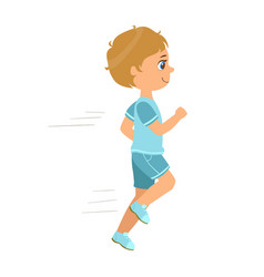 Little boy running in a blue shirt and shorts and vector