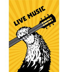 Live music animal paw with guitar musical poster vector