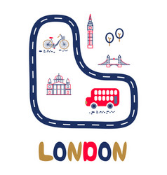 london poster with text and landmarks vector image