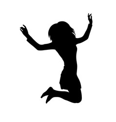 long haired teen girl jumping silhouette vector image