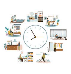 Man daily schedule lifestyle activities temporal vector