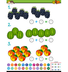 maths addition educational game with fruits vector image