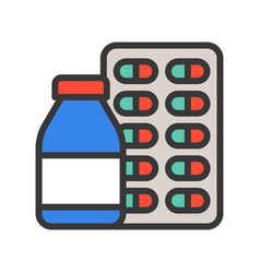 Medicine bottle syrup and capsule pharmacy icon vector