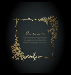 minimalist golden square floral flyer vector image