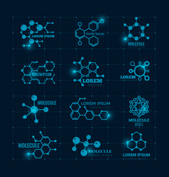 molecular logo with shine effect chemistry dna vector image