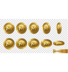 monero set of realistic 3d gold crypto coins flip vector image
