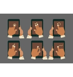 Multitouch gesture hands with tablet mockups vector