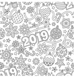 New year 2019 hand drawn outline festive seamless vector