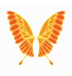 Orange butterfly wings icon cartoon style vector