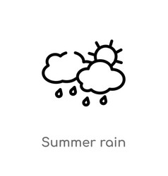 outline summer rain icon isolated black simple vector image