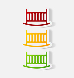 Paper clipped sticker cot vector