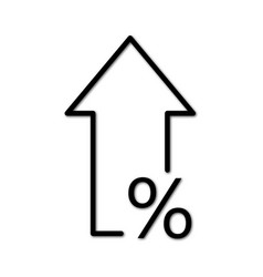 Percent up line icon percentage arrow growth vector