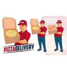 pizza delivery man mascot design vector image