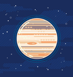 Planet jupiter in space in flat style vector