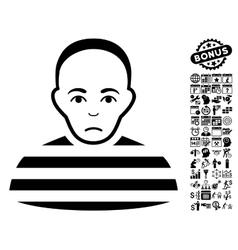 Prisoner Flat Icon With Bonus vector