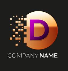 purple letter d logo symbol in golden pixel circle vector image