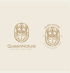 queen nature logo icon set with lineart vector image