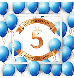 Realistic blue balloons with ribbon in centre vector