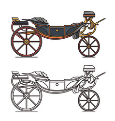 Retro cab or vintage carriage medieval chariot vector