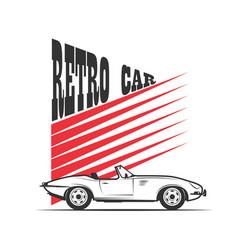 Retro car in vintage style vector