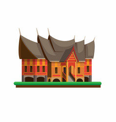 rumah gadang is house for minangkabau people a vector image