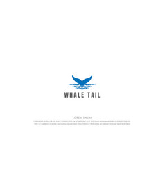 Rustic hand drawn whale or dolphin tail logo vector