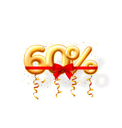 Sale 60 off ballon number on white background vector