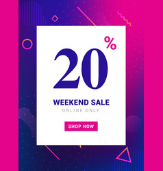 sale promo banner weekend offer big discount 20 vector image