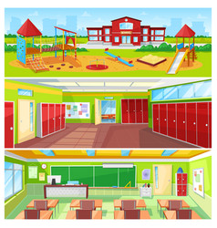 School interior and outdoor yard colorful banner vector