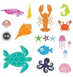 Sea set vector image