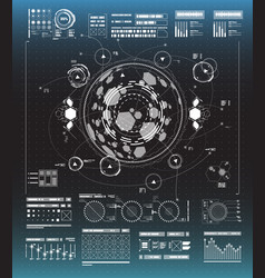 set black and white infographic elements head vector image