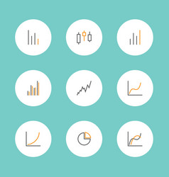Set charts and graphs icons vector
