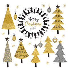 set isolated christmas gold tree vector image
